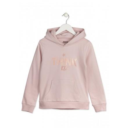 Sudadera LOSAN para niña con capucha de color rosa