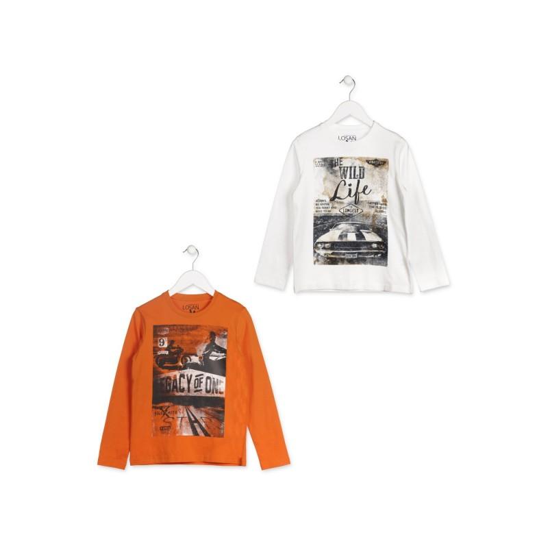 f1de43c80 Camiseta de manga larga LOSAN para niño de color natural con coche estampado