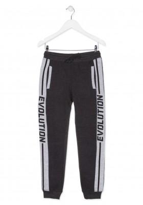 Pantalón de felpa LOSAN para niño de color gris con piezas laterales