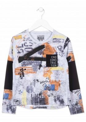 Camiseta de manga larga LOSAN para niño estampada y bolsillo en el pecho