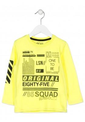 Camiseta maga larga LOSAN para niño de color amarillo con estampado en la manga
