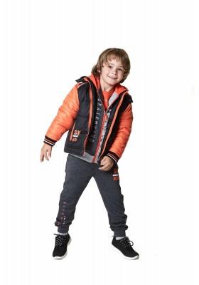 Pantalón LOSAN para niño de felpa jaspeado de color gris
