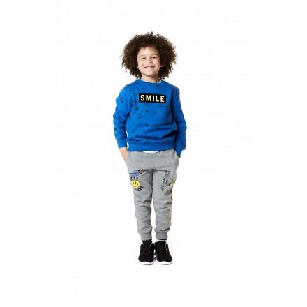 Pantalón LOSAN para niño de felpa de color gris con cara estampada
