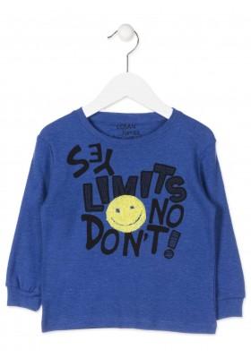 Camiseta manga larga LOSAN para niño con cara en tejido de rizo en el delantero