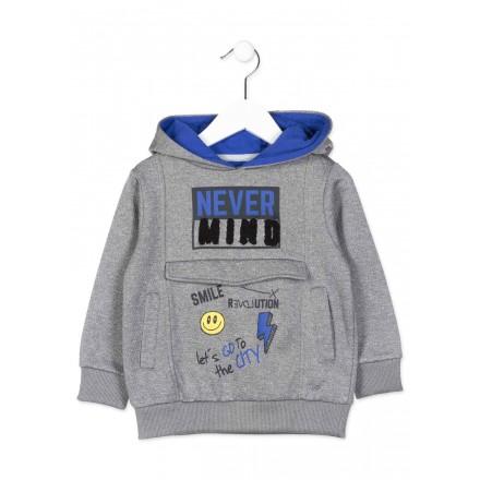 Sudadera LOSAN para niño con capucha de color gris con bolsillos