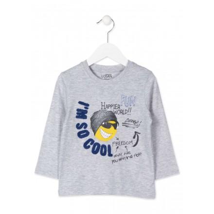 Camiseta de manga larga LOSAN para niño con parche en tejido de rizo