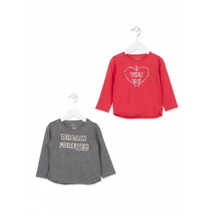 Camiseta manga larga LOSAN para niña de color rojo con perlitas