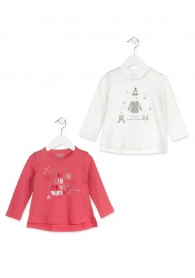 Camiseta de manga larga LOSAN para niña con motivos invernales color blanco