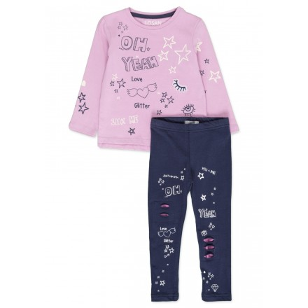Conjunto de LOSAN para niña camiseta y leggins con rotos en el delantero