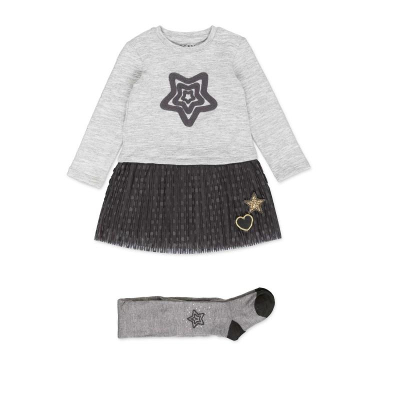 4908a37e3 Conjunto de vestido LOSAN para niña combinado con falda de tul y leotardo