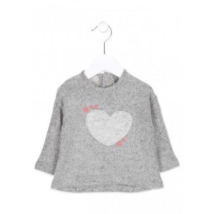 Camiseta manga larga de felpa LOSAN para bebé niña de color gris