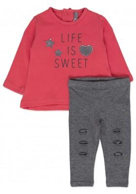 Conjunto LOSAN para bebé niña de camiseta y leggins con cortes en rodillas