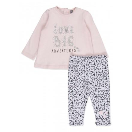 Conjunto de camiseta LOSAN para bebé niña en color rojo y leggins con corazones