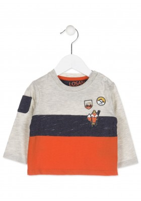 Camiseta combinada LOSAN para bebé niño con bolsillo en el hombro