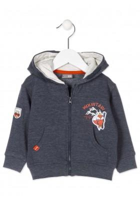 Chaqueta LOSAN para bebé niño con capucha de color azul en tejido de felpa