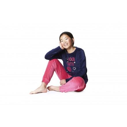 Pijama de terciopelo LOSAN con corazones para chica