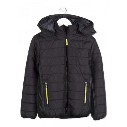 Parka LOSAN acolchada de color negro con capucha para chico