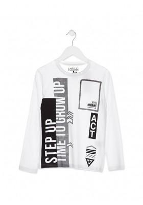Camiseta LOSAN de manga larga de color blanco para chico