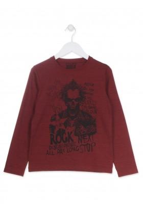 Camiseta LOSAN de punto guateada de color rojo para chico