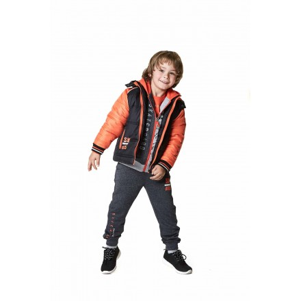 Parka LOSAN de color gris con capucha para niño