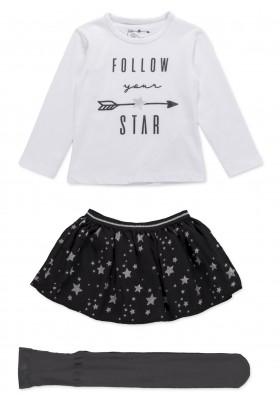 Conjunto LOSAN de camiseta con falda de estrellas y medias para niña