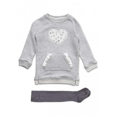 Conjunto LOSAN de vestido de felpa con corazón y leotardo para niña