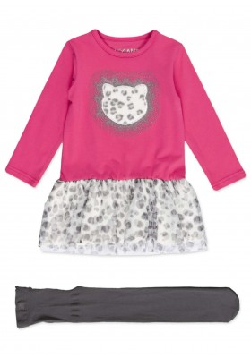 Conjunto LOSAN de vestido con parche animal y medias para niña