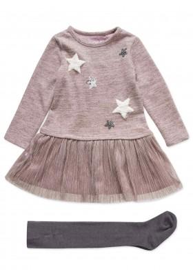Conjunto LOSAN de vestido de felpa con estrellas y leopardo para niña