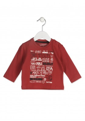 Camiseta LOSAN de color rojo de manga larga con estampado para bebé niño