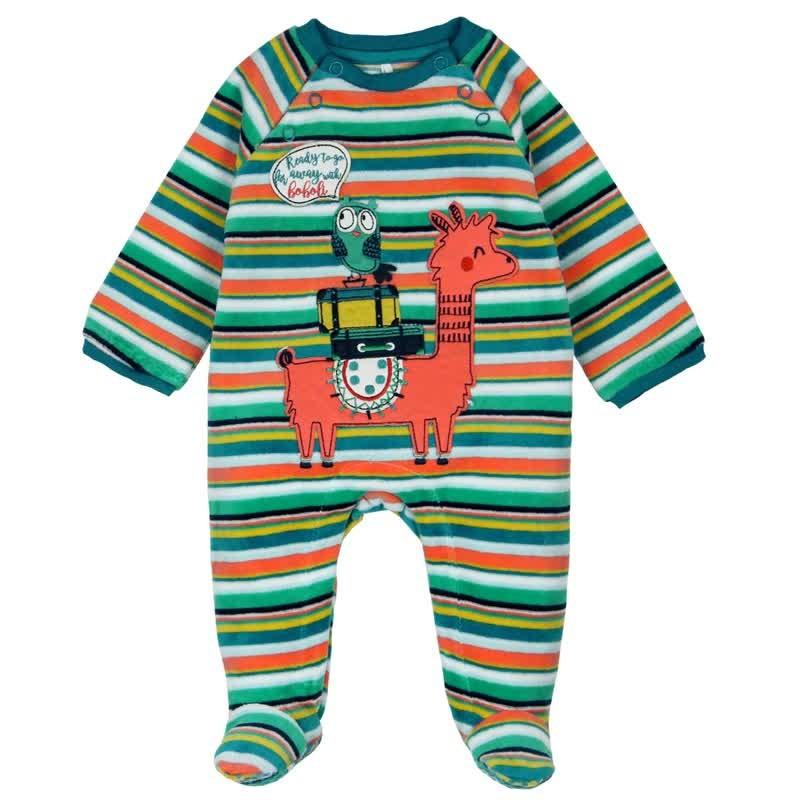 6196c5792 Pelele terciopelo listado de bebé BOBOLI. Loading zoom