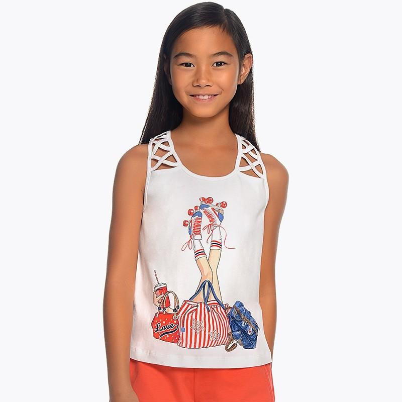 2b796eeb8a1d Camiseta tirantes serigrafia Mayoral niña. Loading zoom