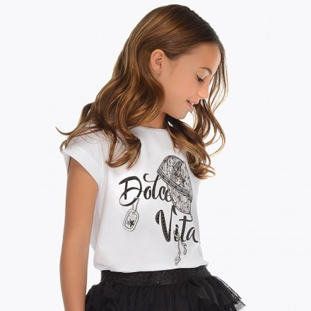 Camiseta manga corta gorra Mayoral niña