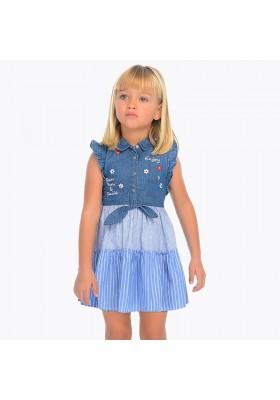 Vestido combinado tejano Mayoral niña