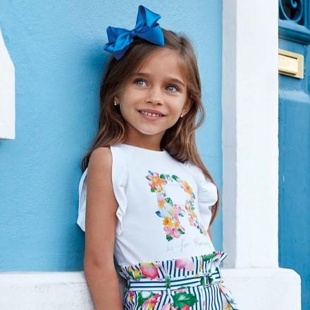Camiseta tirantes letra flor Mayoral niña