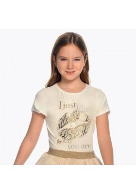 Camiseta manga corta labios Mayoral niña