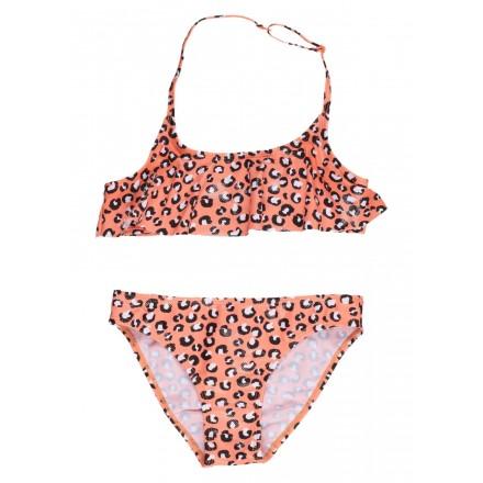 Bikini de color naranja con estampado animal para chica Losan 914-4005