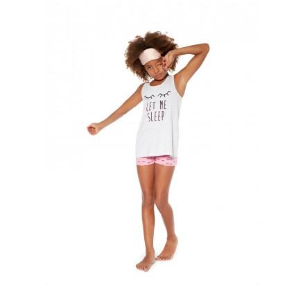Pijama de algodón estampado blanco para chica Losan 914-P003