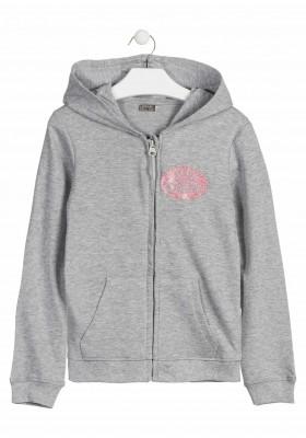 Chaqueta de felpa de color gris con bolsillo canguro para chica Losan 914-6650