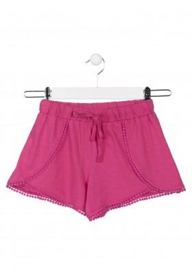 Short de punto de color rosa para chica Losan 914-6001
