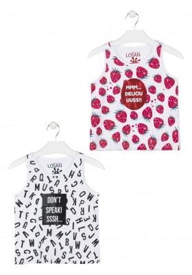 Camiseta sin mangas de punto de color blanco para chica Losan 914-1201