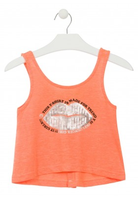 Camiseta de tirantes abierta en la espalda con botones para chica Losan 914-1022
