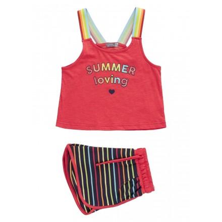 Conjunto de camiseta de rayas de colores y short para chica Losan 914-8029