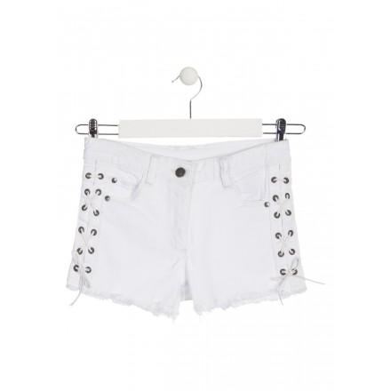 Short de color blanco con trenzado lateral para chica Losan 914-9009