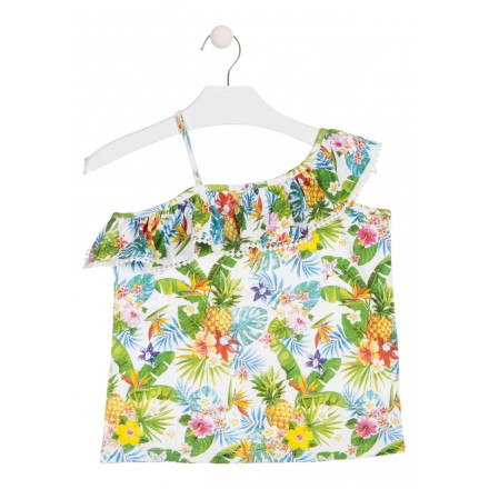 Camiseta de tirantes con estampado tropical para chica Losan 914-1019