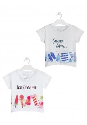 Camiseta con helados estampados blanca para chica Losan 914-1208