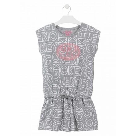 Vestido de manga corta de color gris para chica Losan 914-7012