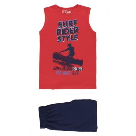 Pijama sin mangas de punto rojo para chico Losan 913-P003