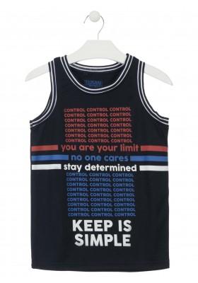 Camiseta sin mangas de tejido técnico de color azul para chico Losan 913-1034