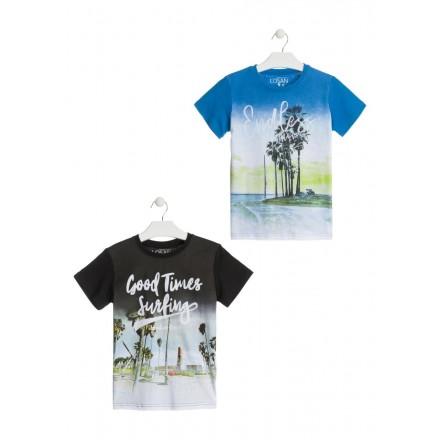 Camiseta de color negro con estampado para chico Losan 913-1209