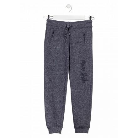 Pantalón jaspeado de color azul de felpa para chico Losan 913-6022